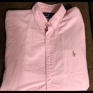 Men's pink casual shirt long sleeve